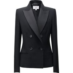 The new collection in collaboration with the leading global fashion icon Carine Roitfeld. This women's tuxedo jacket is the perfect touch for dressy looks. The large double-breasted lapels are made from different material to create the distinctive tuxedo look. A fitted silhouette produces a definitively feminine style.