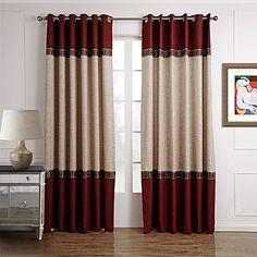 neoclássicos dois painéis sólidos bege vermelho sala de estar cortinas de painel de poliéster cortinas – EUR € 54.87