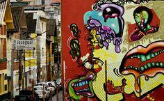 Grafite na esquina da rua Jardim Heloísa com a Jaceguai, no Bexiga, centro de São Paulo (Brasil)