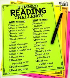 Summer Reading Challenge for Summer ReadingAre you looking for a free way to challenge your students or child(ren) this summer?  This is it!  This will encourage your students to read a diverse number of texts in a diverse number of ways!My students (and their parents) enjoyed this so much last year, and I'm sure yours will too!You might also like: Summer Reading for Kindergarten