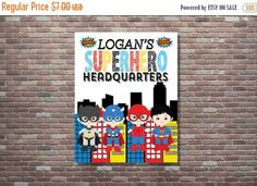 On Sale Personalized Superhero Headquarters by CottageArtShoppe