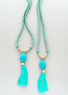 Turquoise Quartz & Mint Tassel Necklace - Genuine Stones – Pree Brulee