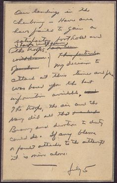 """""""In Case of Failure"""" Message Drafted by General Dwight Eisenhower in Case the D-Day Invasion Failed, 06/05/1944. Credit: National Archives."""