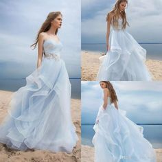 Discount Beautiful Light Sky Blue Wedding Dresses Boho Style Beach A Line Vestidos De Novia Long Custom Made Sweetherat Bodice Bridal Gown Long Sleeve Wedding Gowns Mermaid Bridal Gowns From Kiss_wedding, $170.91| Dhgate.Com