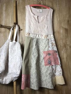 Up cycled Women's Tunic/Dress, Repurposed Patchwork, One of a Kind, Romantic clothing, Comfortable and so easy to wear, Cool Summer evenings #upcycled #tunic #shabbychic #repurposed #affiliate
