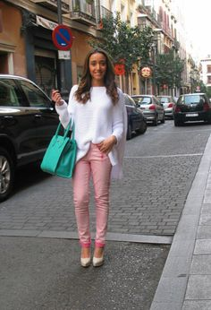 Back in Madrid  #outfit , Zara in Sweaters, Blanco in Pants, Zara in Heels / Wedges, Bimba&Lola in Bags