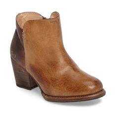 Women's Bed Stu Yell Bootie ($235) ❤ liked on Polyvore featuring shoes, boots, ankle booties, tan teak rustic leather, tan leather boots, leather ankle boots, ankle boots, stacked heel bootie and tan booties