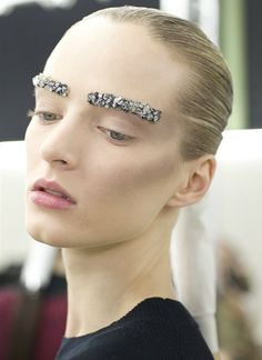 Glitter Eyebrows//  Daria Strokous backstage at Chanel
