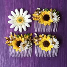 Affordable sunflower hair combs, perfect for your flower girl, now available in the shop:)
