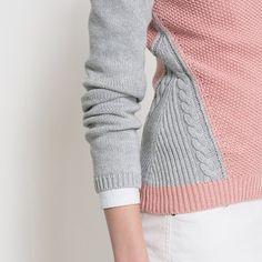Sweter dwukolorowy color block