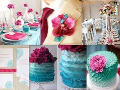 Fuscia and turquoise