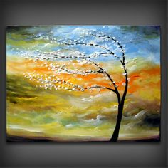 ORIGINAL - palette knife painting tree painting texture painting Landscape painting large painting tree painting 22 x 28 Mattsart