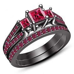 Princess Cut Sapphire Prong Sett. 925 Silver Ladies Three Stone Wedding Ring Set…