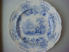 Antique Davenport Blue and White Plate