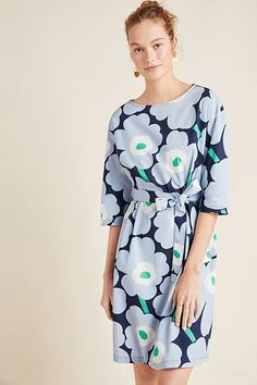 Marimekko Sona Floral Mini Dress by in Assorted Size: Xs, Women's Dresses at Anthropologie Dresses For Teens, Fall Dresses, Simple Dresses, Women's Dresses, Linen Dresses, Pretty Dresses, Summer Dresses, Marimekko Dress, Simple Dress Pattern