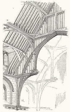 Part of the timber framework of Westminster Abbey. From Dictionnaire raisonné de l'architecture française du XIe au XVIe siècle (Reasoned dictionary of French architecture, from the XI to the XVI century), vol. 3 by E. Viollet-Le-Duc. Paris, 1875.