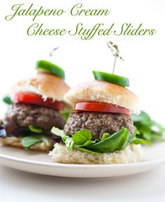 Cream Cheese Jalapeno Stuffed Sliders by EclecticRecipes.com #recipe
