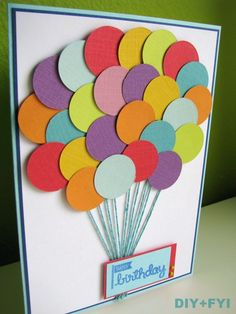 Handmade birthday card ideas with tips and instructions to make Birthday cards yourself. If you enjoy making cards and collecting card making tips, then you'll love these DIY birthday cards! Bday Cards, Happy Birthday Cards, 25th Birthday, Birthday Gifts, Balloon Birthday, Birthday Wishes, Card Birthday, Birthday Diy, Creative Birthday Cards