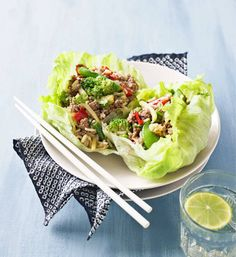 San choy bow: You can make this classic Asian dish with veal mince or chicken breast mince if you prefer. Pork Recipes, Asian Recipes, Cooking Recipes, Ethnic Recipes, Asian Foods, Healthy Cooking, Healthy Eating, Healthy Recipes, Healthy Food