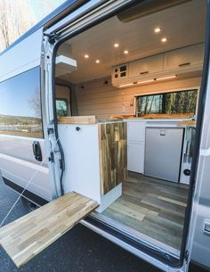 """Chongo"", a Ram Promaster built for a couple who are taking it on a a year long road trip. It has modular countertops as well as lots of storage space."