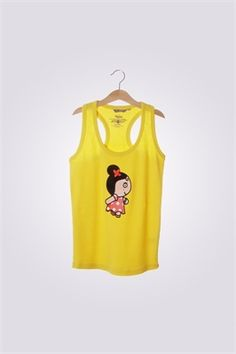 Camiseta de mujer de tirantas ArriquiCurra color amarillo.
