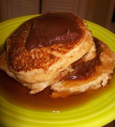 Cottage cheese and oat pancakes with sugar free syrup and apple butter!