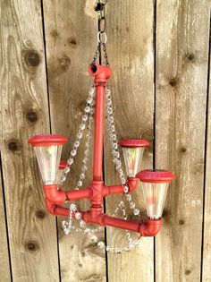 Red Solar Powered Iron Pipe Chandelier with Glass Crystals and Removable Lights
