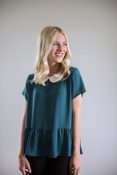 The Peter Pan Peplum in Jade