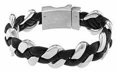 Men's Stainless Steel Leather Bracelet