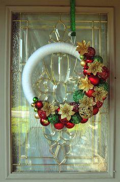 Christmas Wreath, Christmas Wreath for Front Door, Ornament Wreath, White Wreath, Christmas Decor, Christmas Ornament Wreath, Poinsettias Christmas Wreaths For Front Door, Christmas Ornament Wreath, Wreaths For Sale, Christmas Decorations, Holiday Wreaths, Door Wreaths, Holiday Decor, Handmade Shop, Etsy Handmade