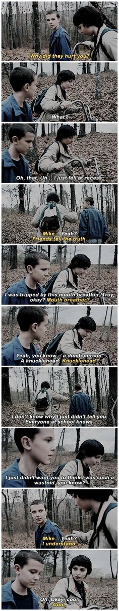 """Why did they hurt you?"" - Eleven and Mike #StrangerThings"