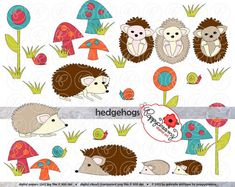 Hedgehogs Clipart Set 300 dpi Hedgehog Snail by poppydreamz