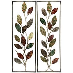 Lacquered Leaf Metal Tree Wall Decor Set 2 From Earth Homewares