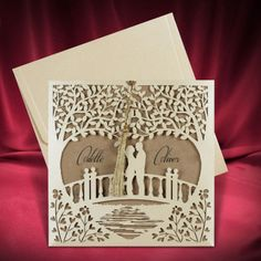 Rustic laser cut wedding Invitation with couple on the bridge. Personalize it for free (any language)! Size: cm Price includes: - Invitation - Envelope - Custom printing (any language) - Standard shipping Build your suite (matching cards): - RSVP cards - Diy Invitation, Diy Wedding Invitation Kits, Wedding Reception Invitations, Rustic Wedding Reception, Vintage Wedding Invitations, Camo Wedding, Floral Wedding, Dream Wedding, Invitations Quinceanera