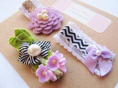 Unique Hair Bow Clips for Baby/Girls. Boutonneire style hair clip, modern color combos, lace, pearls and flowers!!