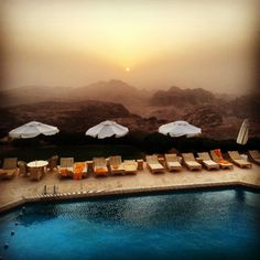 The Amazing outdoor pool in Petra Marriott Hotel with a Breathtaking Mountain View at Sunset!