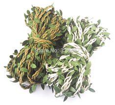 Ancho 1 cm diy material decorativo del hogar cuerda cordón de cera con hojas de embalaje 2 yardas/lot d047005020