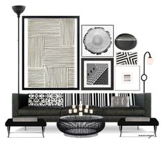 Wallpaper Accent Wall Bathroom, Circular Coffee Table, Interior Decorating, Interior Design, Upholstered Sofa, Pottery Barn, Gallery Wall, Interiors, Polyvore