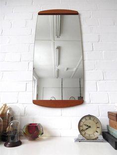 Vintage Large Danish Wall Mirror Teak Back Modernist Mid Century Wooden Back by uulipolli on Etsy https://www.etsy.com/listing/191769768/vintage-large-danish-wall-mirror-teak
