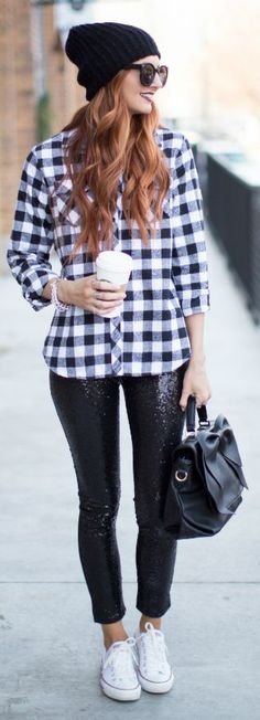 Sequin Leggings, pinning this for her hair color though
