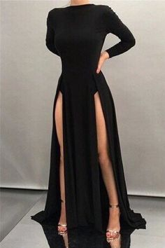 Black Sheath High-neck Front-splits Sleeves Long Sexy Evening Dresses, Prom Dresses,Sexy Party Dress, New Evening Dress Pretty Dresses, Sexy Dresses, Beautiful Dresses, Formal Dresses, Split Prom Dresses, Long Dresses, Double Slit Dress, Look Fashion, Fashion Outfits