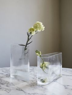 Flower vases made in an extraordinary clear yet corrugated glass. The rippled ef. Flower vases made in an extraordinary clear yet corrugated glass. The rippled effect creates an optical illusion ref