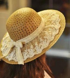 Lace Summer Sun Hats For Women New Fashion Sombreros Wide Brim Beach Side Cap Floppy Female Straw Hat Chapeu de Praia Tea Hats, Tea Party Hats, Wide Brim Sun Hat, Sun Hats For Women, Women Hats, Hat For Man, Fancy Hats, Diy Hat, Summer Hats