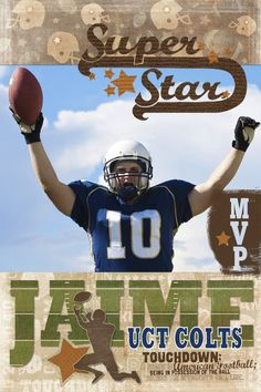 Super Star Football Digital Scrapbooking Wall Print Poster