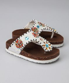 These sparkly sandals look just like candy, so they'll curb any cravings for savvy seasonal style. Thick straps ensure this pair stays put.Lambskin / beaded upperCork / rubber outsoleImported