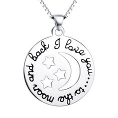 Cheap necklace, Buy Directly from China Suppliers:YAFEINI I Love You to The Moon and Back Necklace 925 Sterling Silver Moon and Star Print Engraved Necklace For Women Back Necklace, Love Necklace, Star Necklace, Garnet Necklace, Pendant Necklace, Star Jewelry, Fashion Jewelry Necklaces, Gifts For Nature Lovers, Engraved Necklace