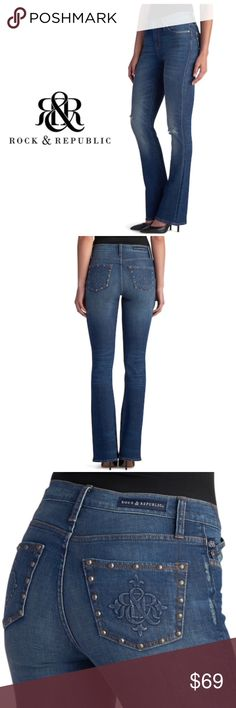 0d7745d793c Rock & Republic Ripped Midrise Bootcut Jeans Sz 6 Keep up with the trends,  thanks