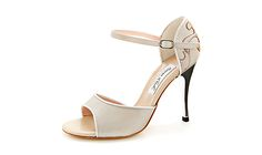 Light Pearl Beige Shimmering Leather Open Toe Model With Silver Detailing, Bronce/Champagne Flowers On the Back And Silver Heel Heel height: 9 cm - 3,6 inch Heel type: High