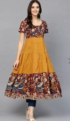 Buy latest Women's Kurtas & Kurtis at best price online in india. Kalamkari Designs, Churidar Designs, Kurta Designs Women, Blouse Designs, Frock Fashion, Fashion Dresses, Indian Designer Outfits, Designer Dresses, Kalamkari Dresses