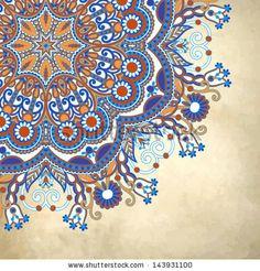flower circle design on grunge background with lace ornament. Ukrainian pattern on old paper vintage background by karakotsya, via ShutterSt...